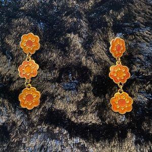 Orange floral earrings